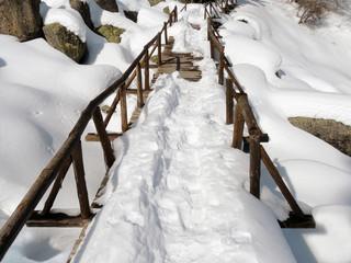 Snowy Wooden Footbridge
