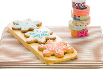 snowflake sugar cookies on dish