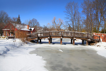 Frozen river in Michigan state park