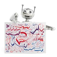 3D Roboter hält Schild mit vielen Pfeilen