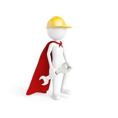 Bauarbeiter als Superheld mit Werkzeug