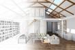 Leinwanddruck Bild - Raumplaner für Wohnzimmer im Haus