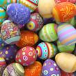 Leinwanddruck Bild - Viele bunte Ostereier zu Ostern