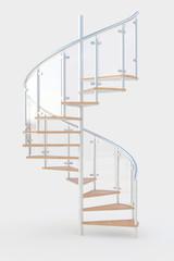 Wendeltreppe mit Stufen aus Holz