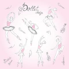 Set ballet dancers, hand drawn background,