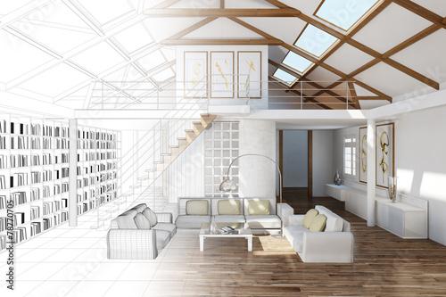 Raumplaner für Wohnzimmer im Haus - 78770705