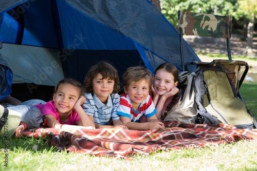 Aluminium Kamperen Happy siblings on a camping trip