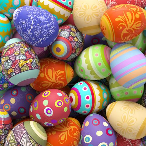 Fotobehang Egg Viele bunte Ostereier zu Ostern