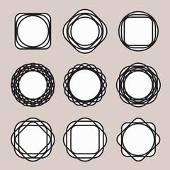 Set of Round Black Line Design Vintage Frames or Badges with