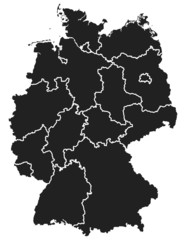 Detailed map of Germany consisting of selectable states