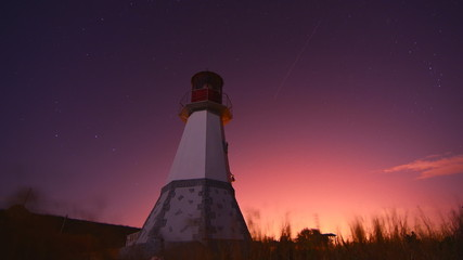 lighthouse at night sky background -moving stars time lapse 4K