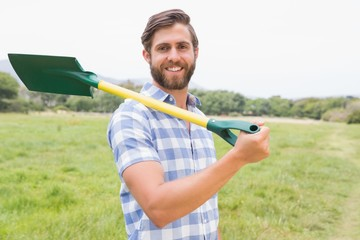 Happy man with his shovel