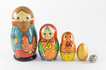 Nesting dolls based on the story Hen Ryaba