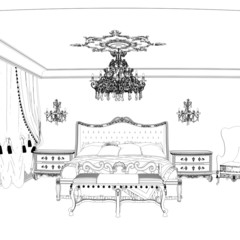 Graphical sketch of an interior apartment, vintage bedroom
