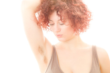 Pretty Woman with Hairy Armpit on White Background