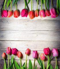 tulips on vintage wood - easter background