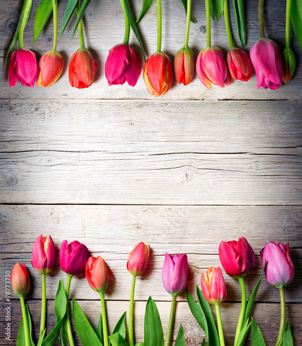 Tuinposter Tulp tulips on vintage wood - easter background