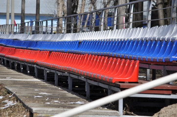 rows of seats in the stadium.