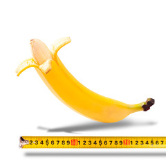 Large banana and measuring tape