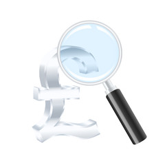 Pound sterling sign and magnifying glass. Vector illustration