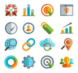 Business, SEO, Social media marketing flai icon