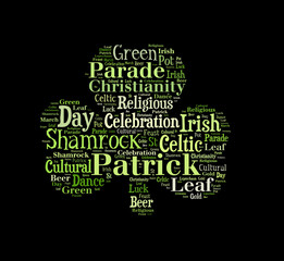Green shamrock word cloud on black background