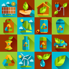 Ecology and waste flat icons set of trash recycling conservation