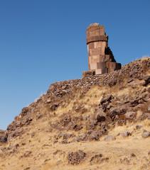 tower of Sillustani on the hill, Lake Umayo, near Puno, Peru