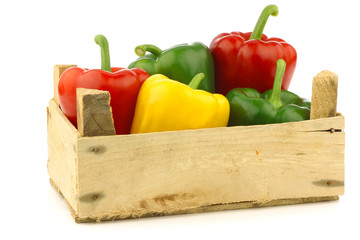 colorful mix of paprika's(capsicum) in a wooden box