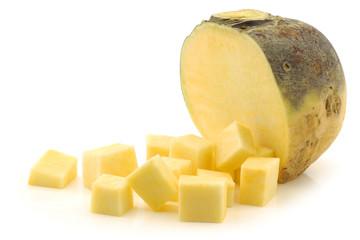 fresh turnip(brassica rapa rapa) and some cut blocks