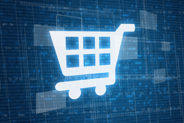 Shopping cart on digital background, online shopping concept