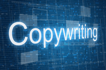 Copywriting word on digital background