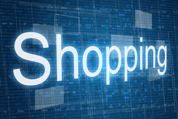 Shopping word on digital background, online shopping consept