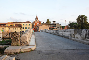 Italy, Rimini, the world famous Tiberio Roman bridge.