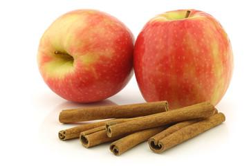 dried cinnamon sticks,  fresh apples on a white background
