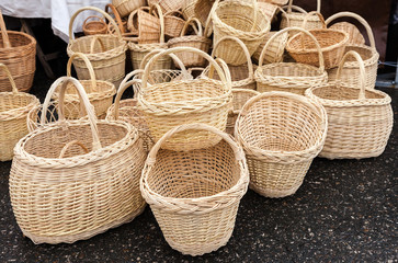 Traditional handmade wicker baskets