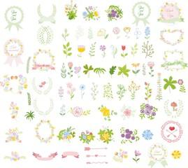 Набор свадебных графических SET- венок, цветы, стрелы, сердца