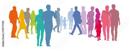 Menschengruppe - Paare in Pastellfarben - 78777590
