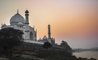Taj Mahal sunset view from the banks of the Yamuna river. Agra.