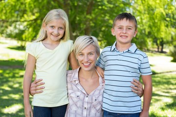 Pretty blonde with her children