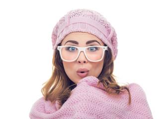 Freezing surprised woman