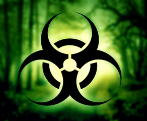 Biohazard symbol with glowing forest