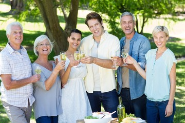 Happy family toasting in the park