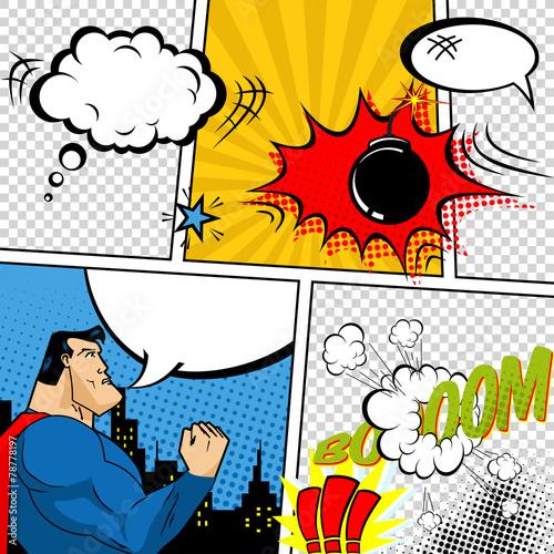 Zdjęcia na płótnie, fototapety, obrazy : Vector Retro Comic Book Speech Bubbles Illustration.