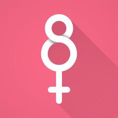 Women's day symbol. Flat design
