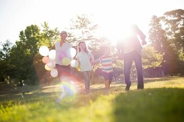 Happy family walking at the park