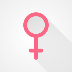 Female gender symbol. Flat design