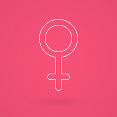 Female gender symbol. Line icon