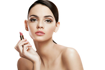 Charming young woman with lipstick