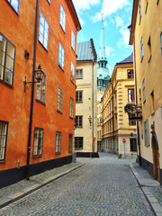 Colorful buildings in the old center of Stockholm